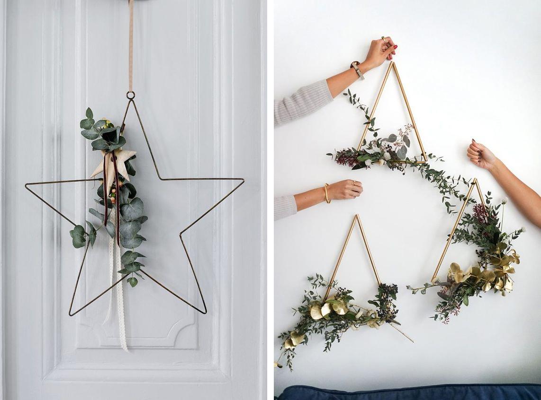 Couronne de Noël en forme d'étoile ou de triangle