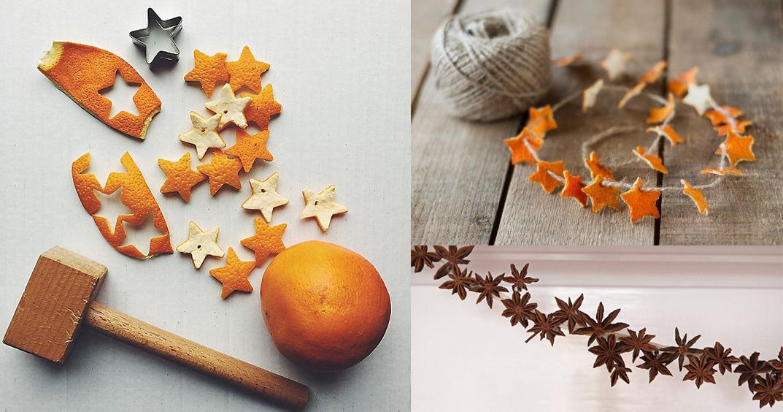 Mini guirlandes en écorce d'orange et anis étoilé badiane pour Noël