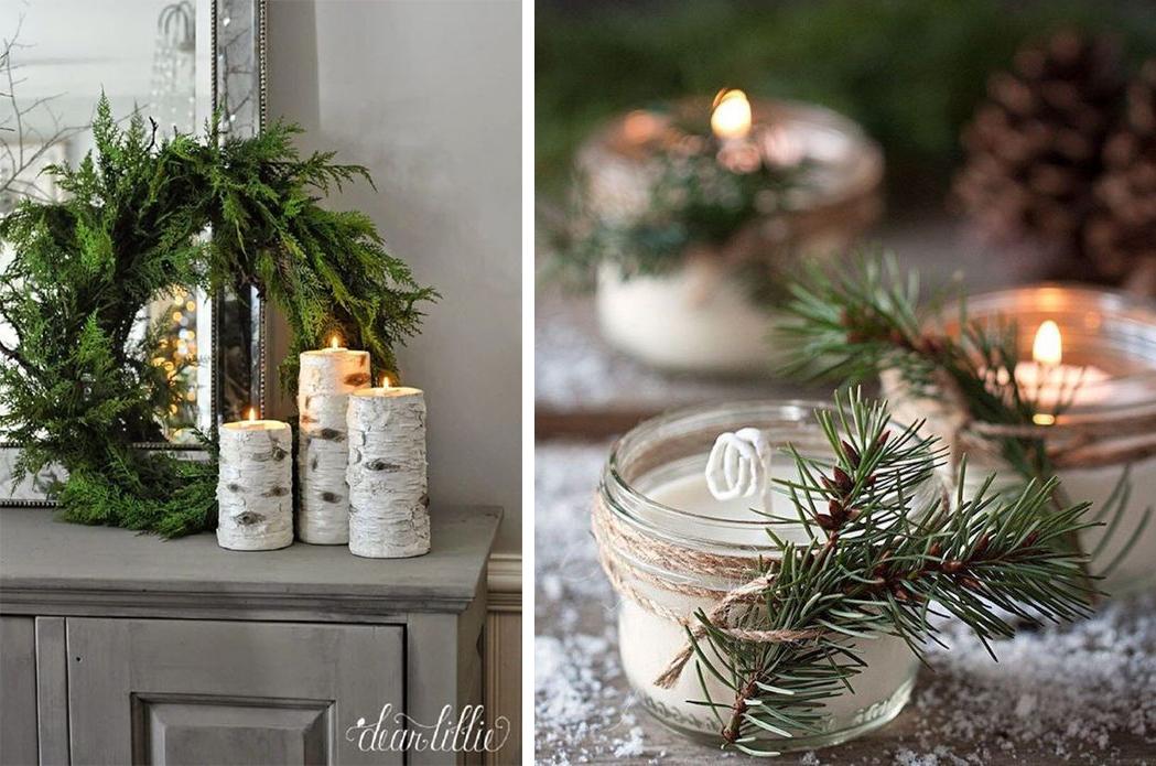 Petites bougies et bougeoir diy bocal et bois de bouleau Noël Christmas