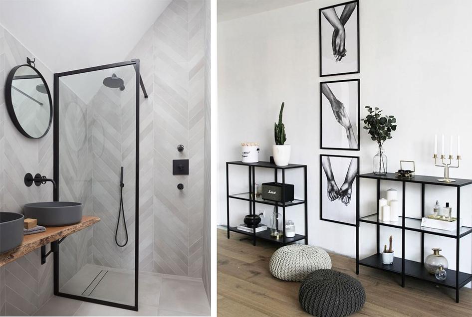 Accessoires en noir : robinets, étagères, lampes, tableaux...