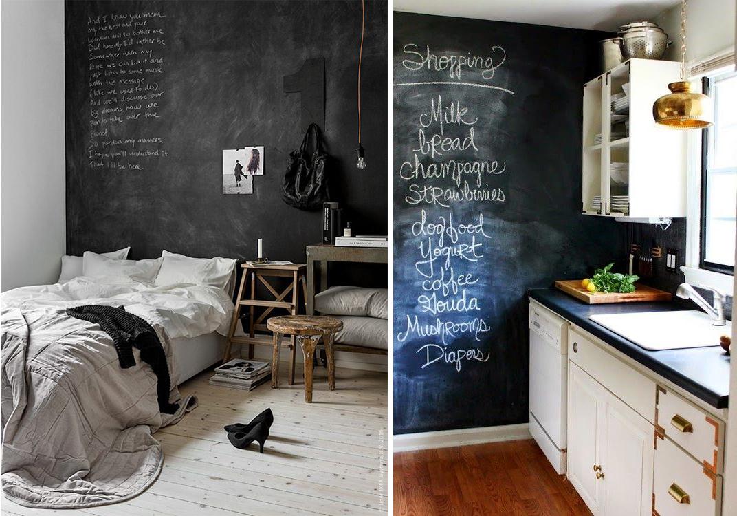 Mur ardoise dans la chambre ou dans la cuisine, peinture noir ardoise craie