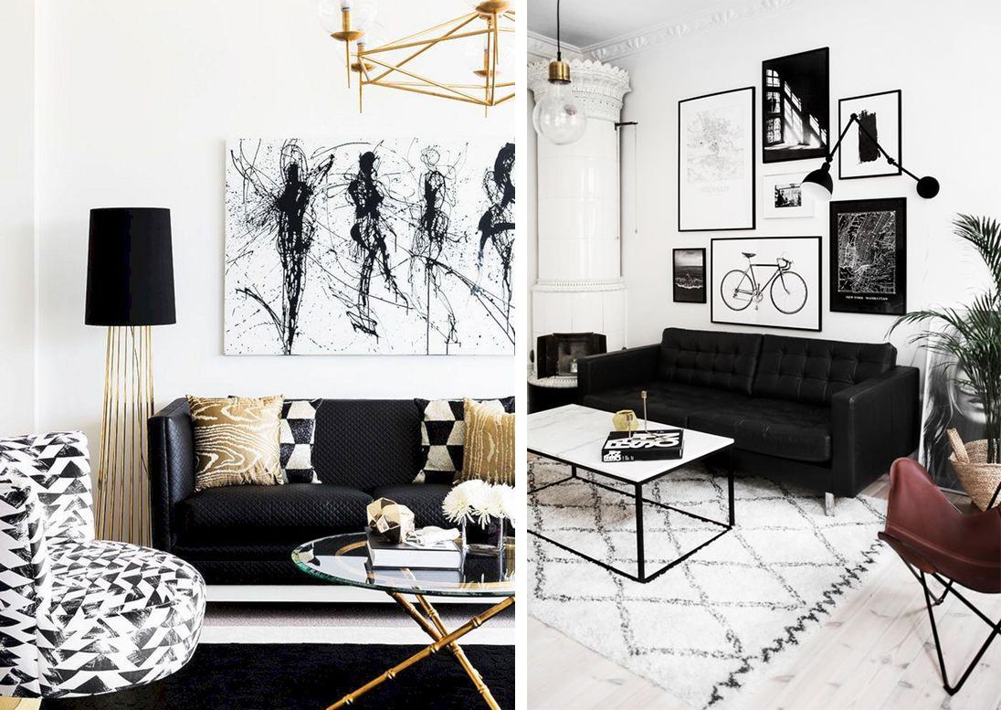Canapé noir dans le salon, ambiance déco black and white