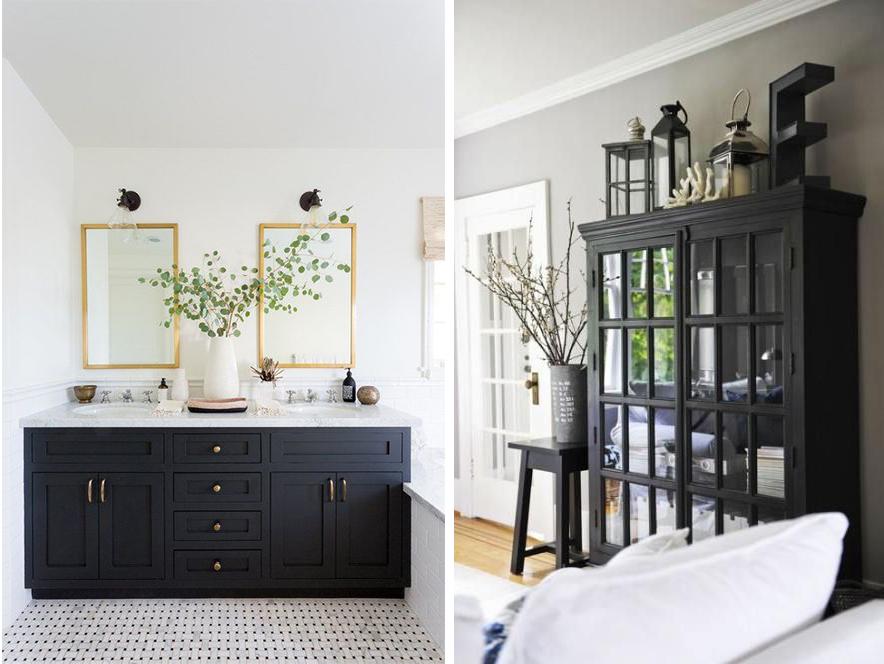Meubles noirs salle de bain ou salon déco black furniture