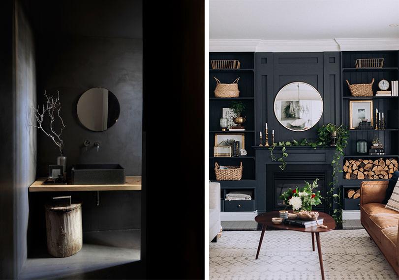 Murs noirs et accessoires naturels : plantes, paniers en osier, bois...