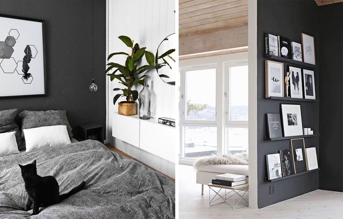 Murs noirs et tableaux blancs avec contraste