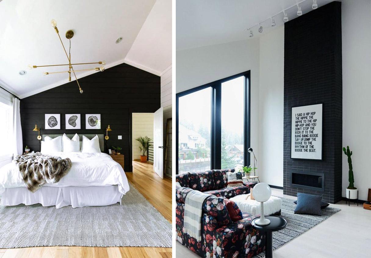 Pan de mur peint en noir décoration intérieure et inspiration, chambre combles et cheminée