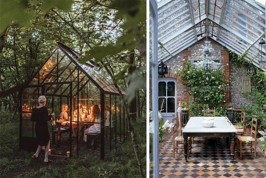 Serre salle à manger jardin exterieur couvert véranda
