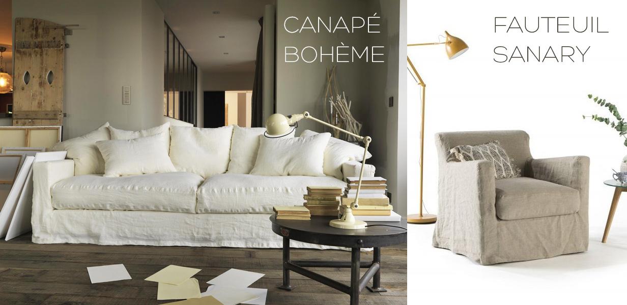 Canapé en lin Bohème et fauteuil Sanary en lin froissé style campagne chic rustique