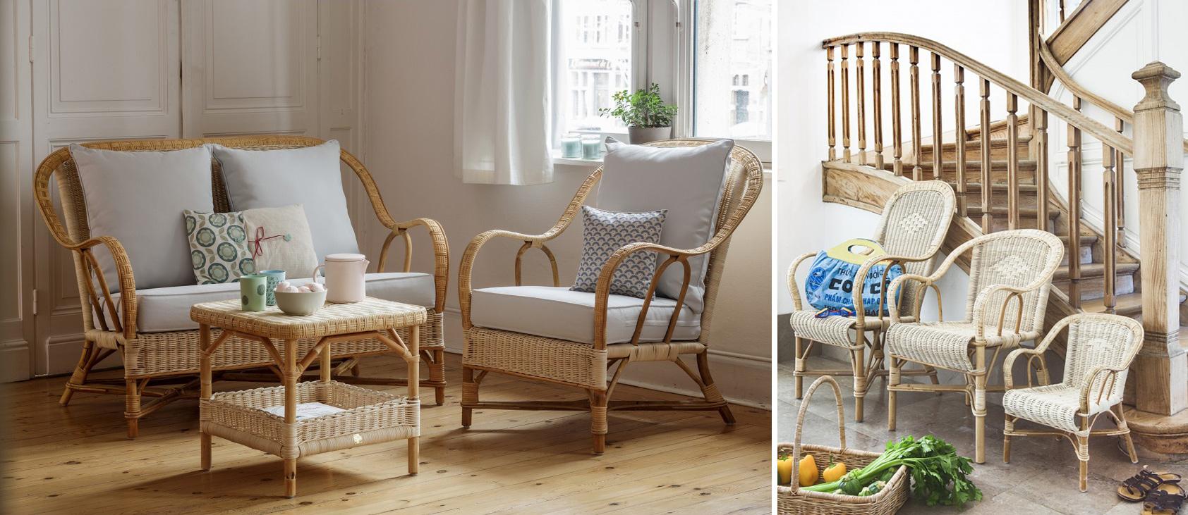 Meubles en rotin canapé et fauteuils