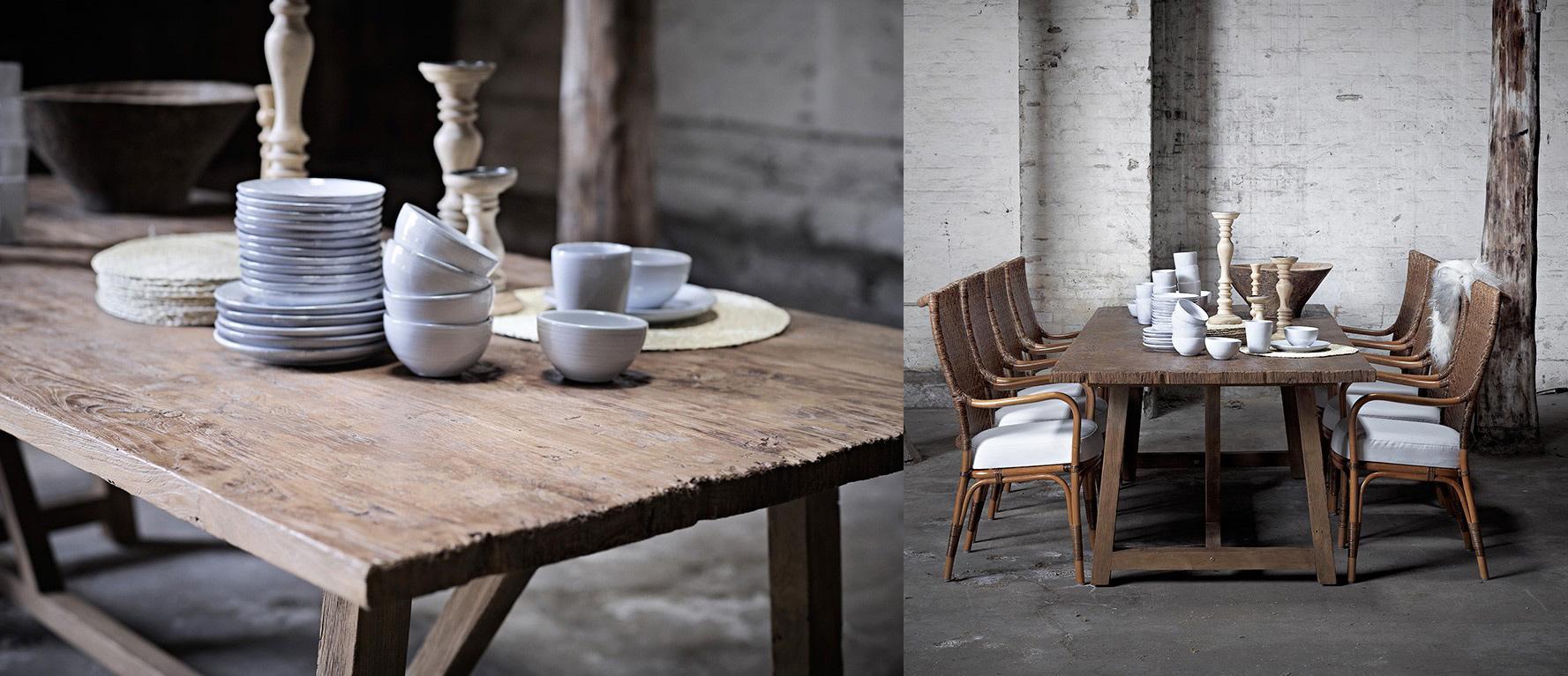 Table en teck recyclé, bois ancien patiné, style campagne chic rustique