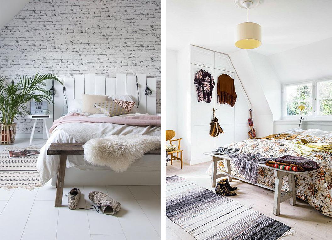 Banc en pied de lit dans la chambre, déco design chambre à coucher