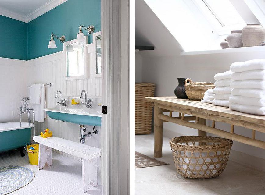 Un banc dans une salle de bain : pratique et design, inspiration déco salle d'eau.