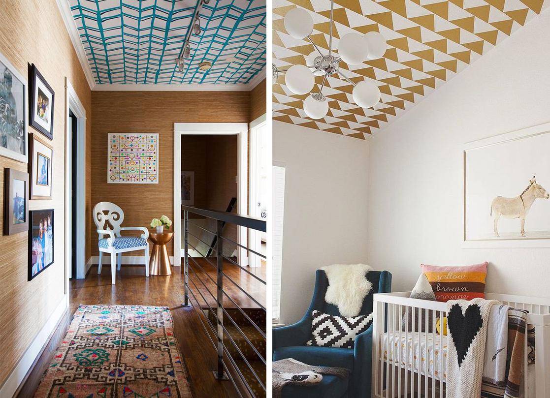 Papier peint géométrique au plafond, déco chevrons, triangles