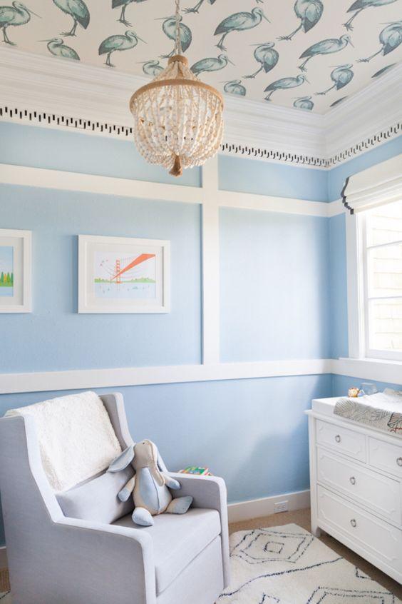 Chambre bébé papier peint plafond oiseaux, couleur bleue