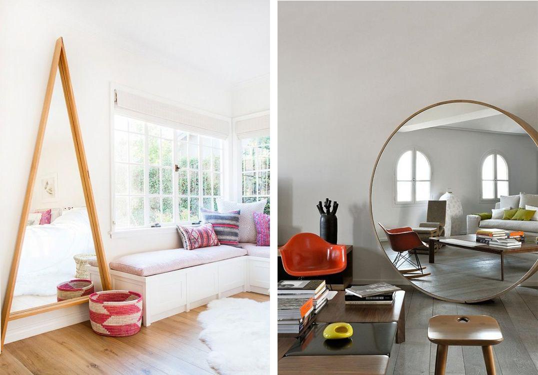 Grand miroir dans le salon : rond ou triangulaire