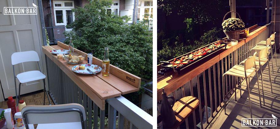 Balkon bar, un comptoir de bar sur la rambarde du balcon