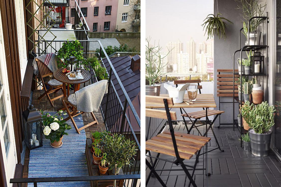 Espace repas avec table et chaises pliantes sur un petit balcon