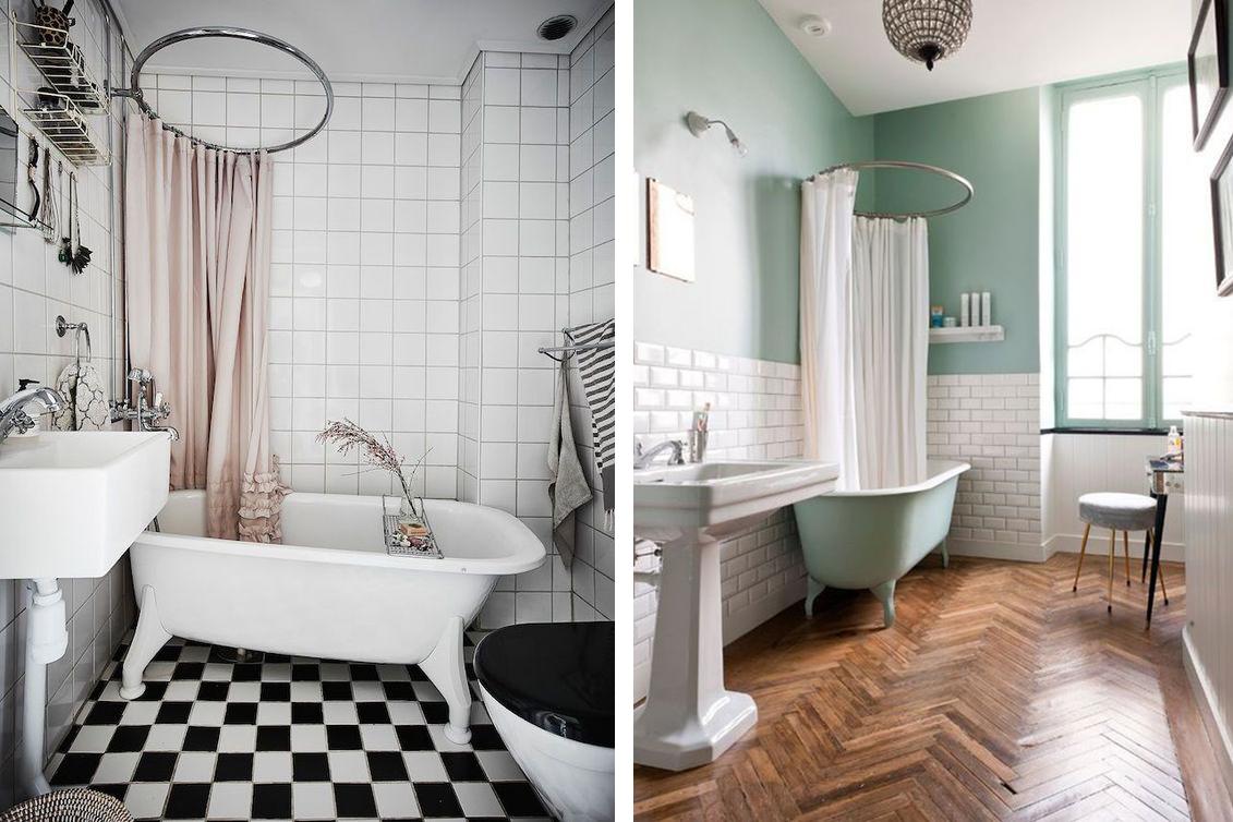 Baignoire vintage et rideaux de douche