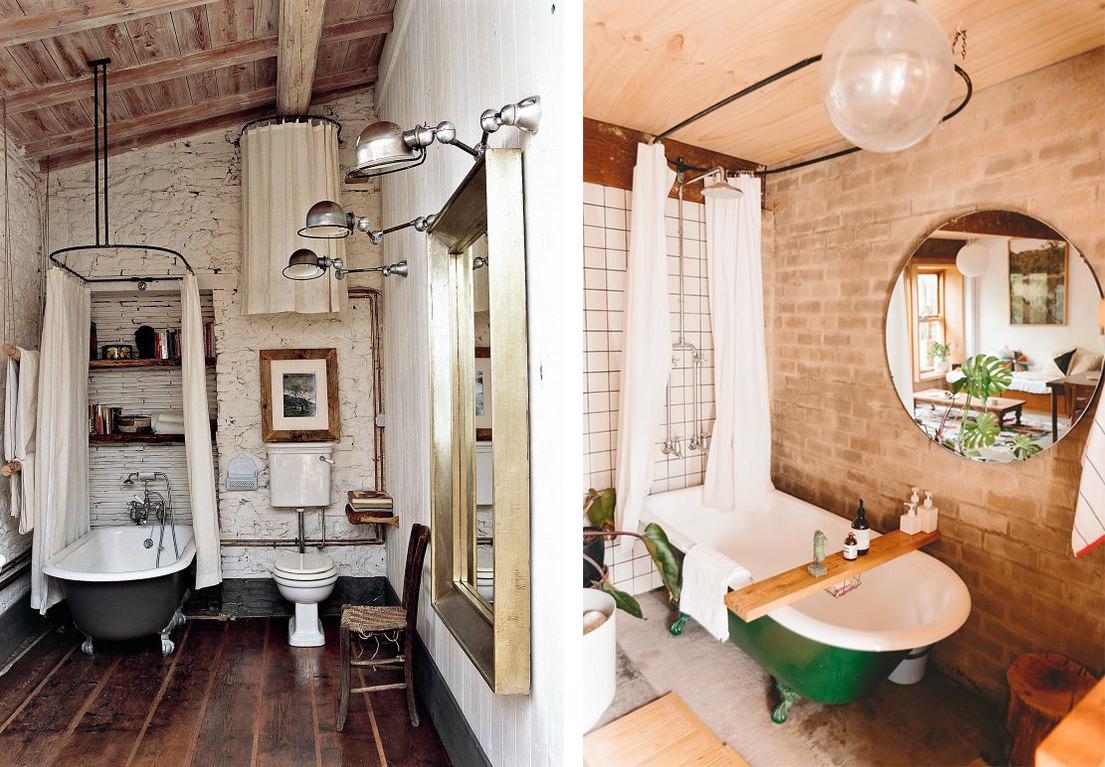 Salle de bain rideau de douche et baignoires vintage
