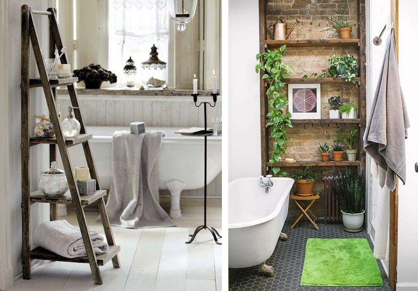 Salle de bain bohème et baignoire vintage sur pieds