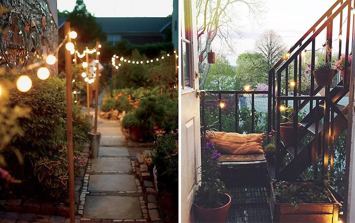 Lanternes et guirlandes lumineuses sur la terrasse