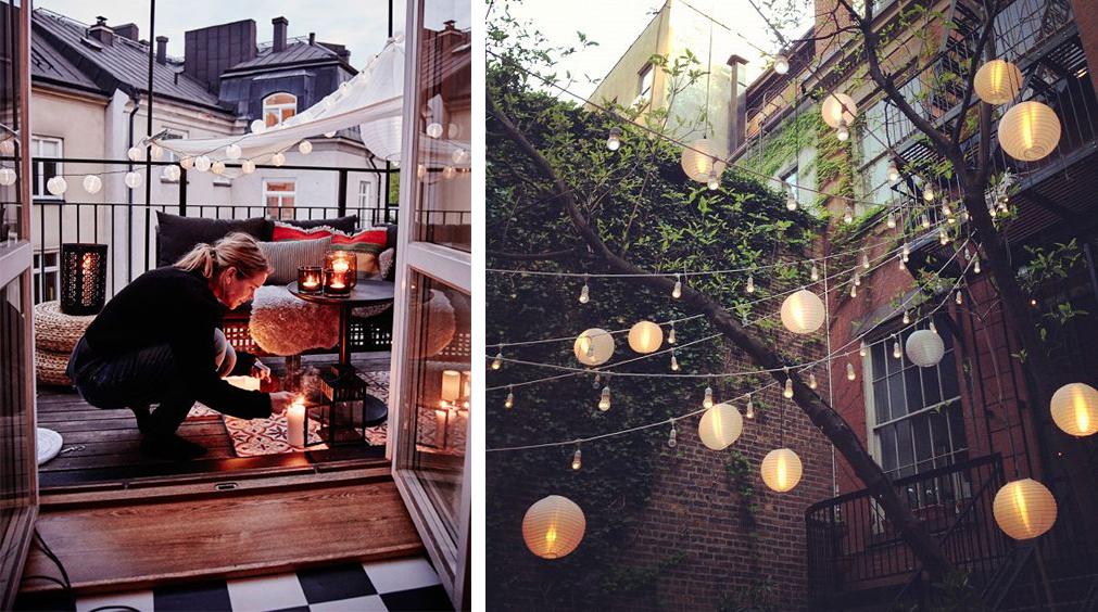 Lampions en papier déco jardin balcon