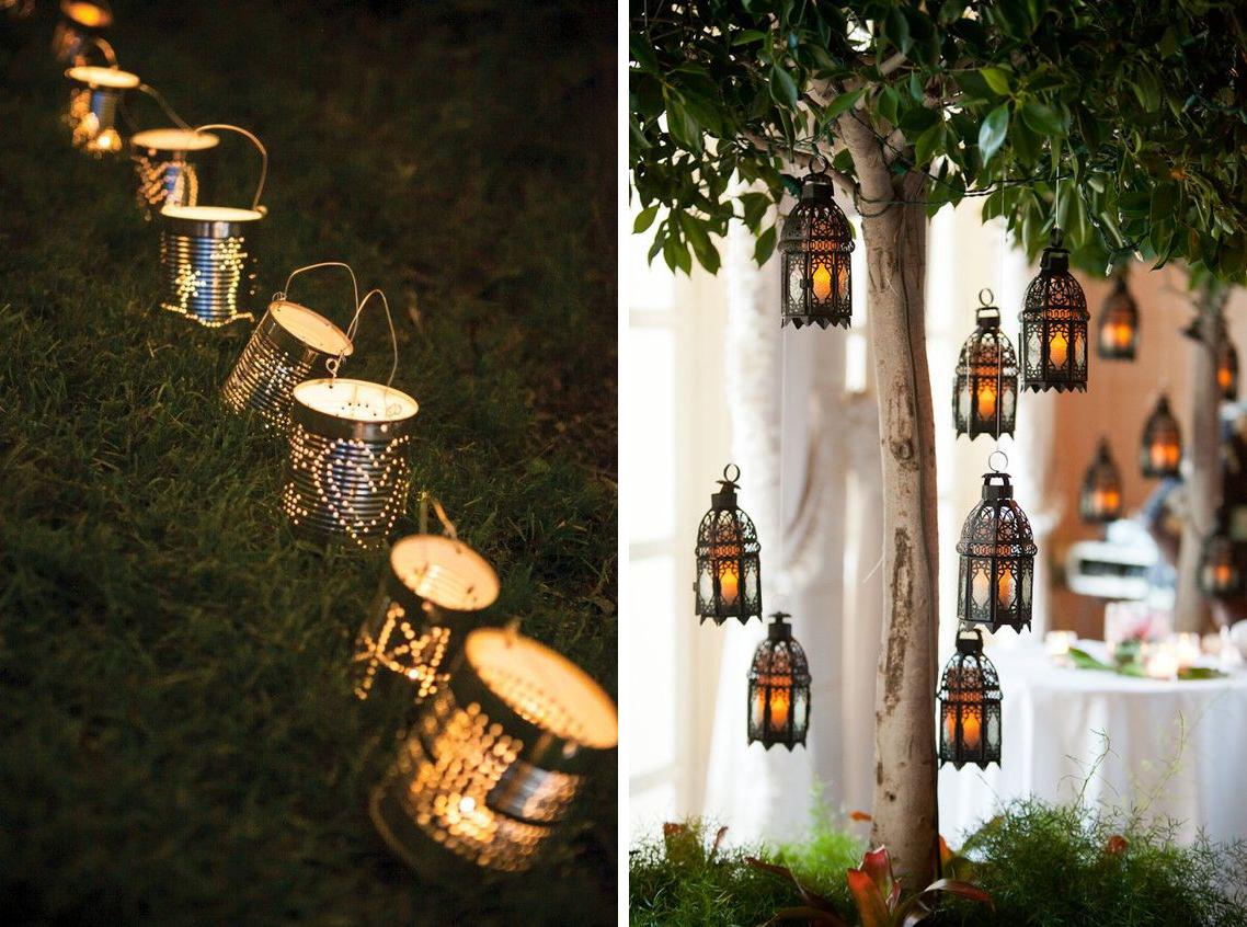 Lanternes en métal style oriental et diy maison avec boites de conserves