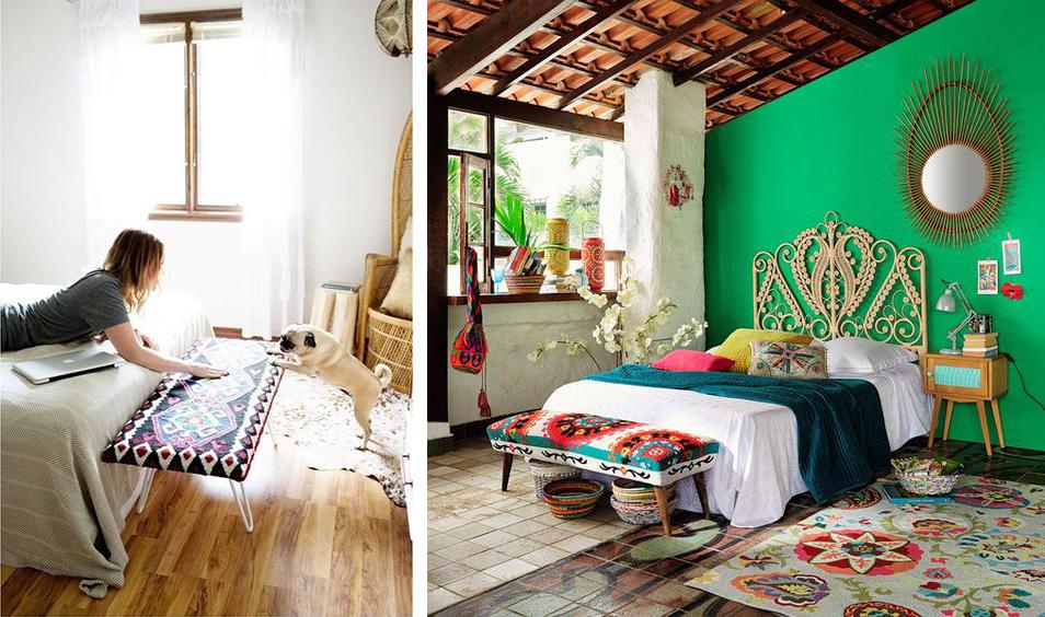 Banc de lit rembourré déco mexicaine et colorée