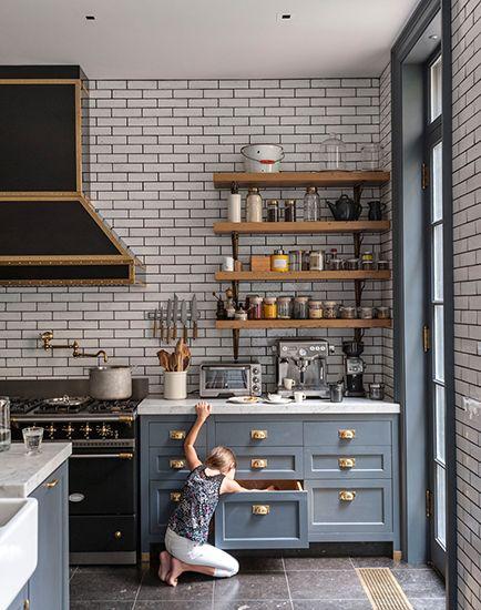 Carrelage imitation briques blanches dans la cuisine