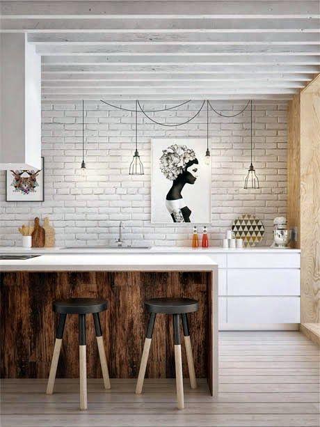 Mur en brique peint en blanc : déco design et contemporaine