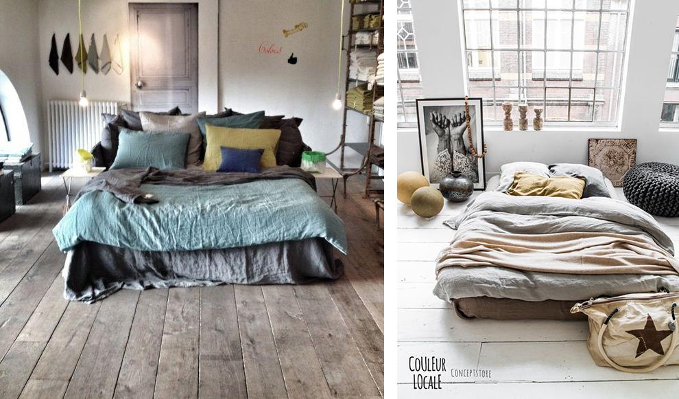 Parure de lit en lin, linge de lit, chambre en lin