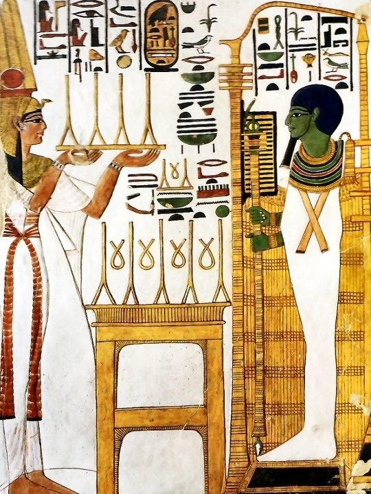 Reine Nefertari offre du lin pur au dieu Ptah
