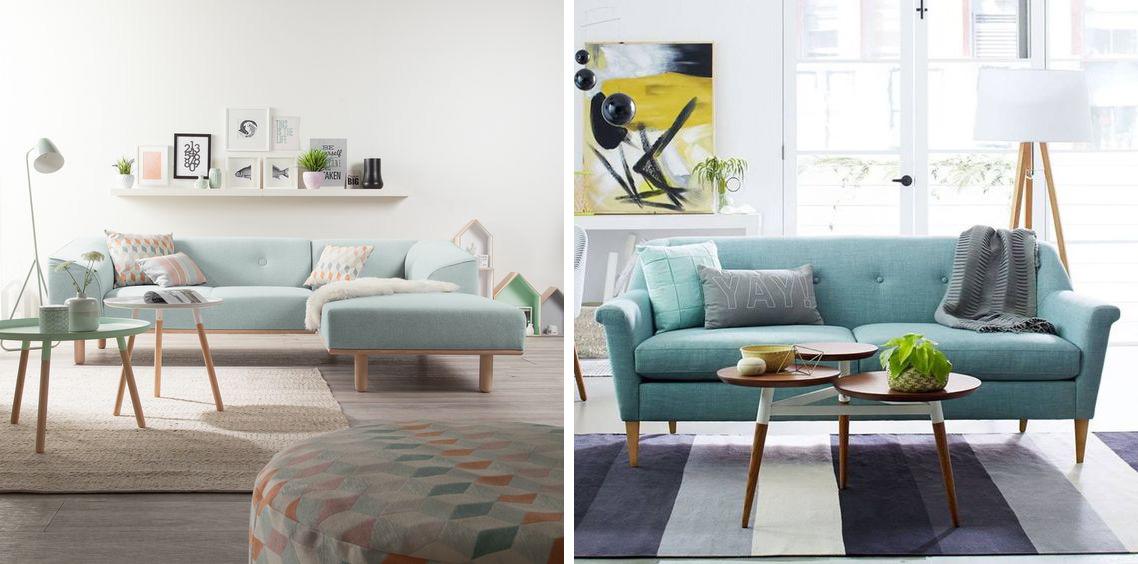 Canapé scandinave mint vert d'eau décoration moderne