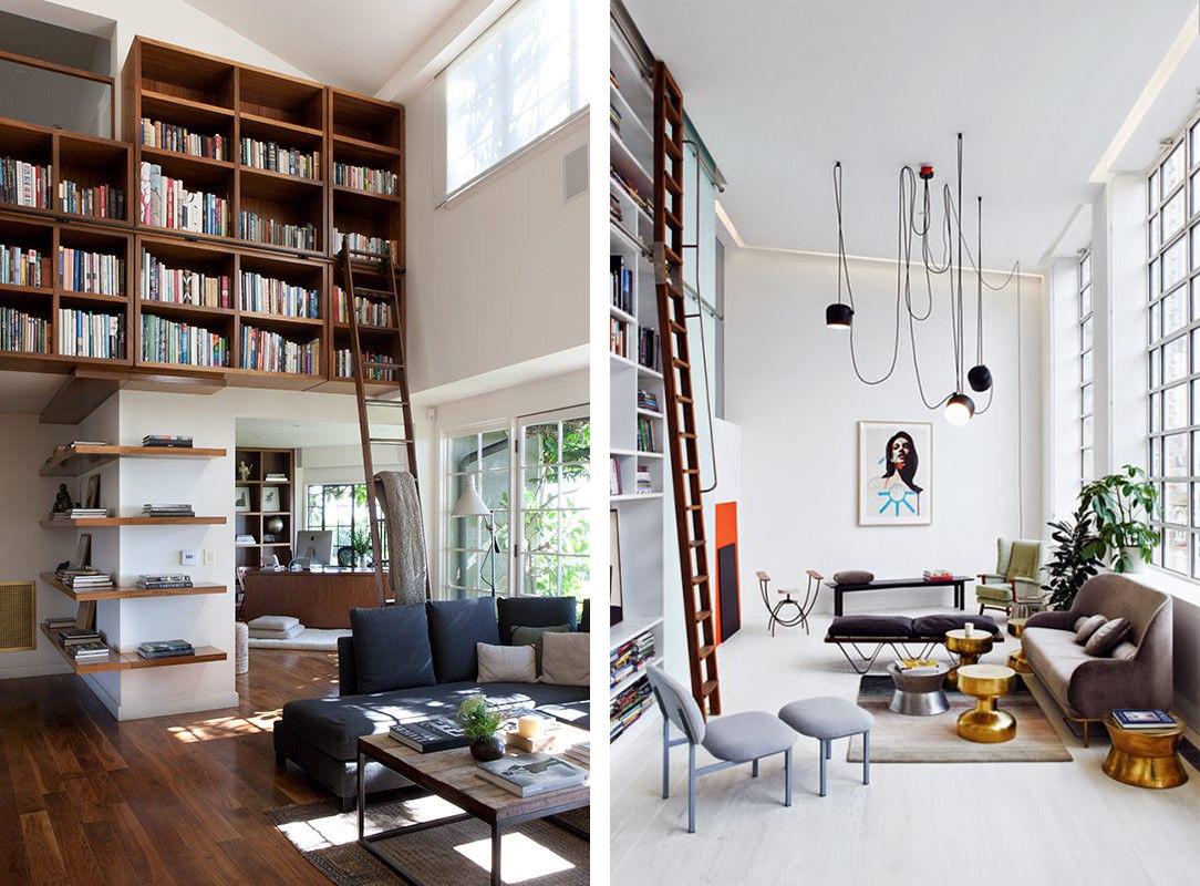 Bibliothèques avec grande échelle en bois
