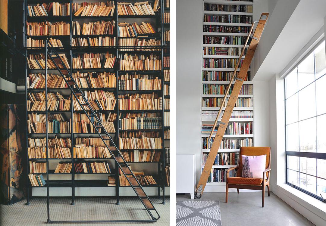 Bibliothèque avec échelle déco moderne et design