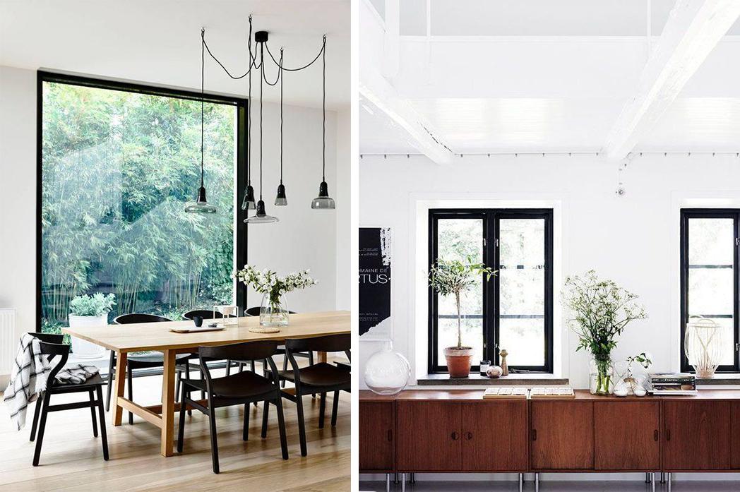 Grandes fenêtres aux bordures noires