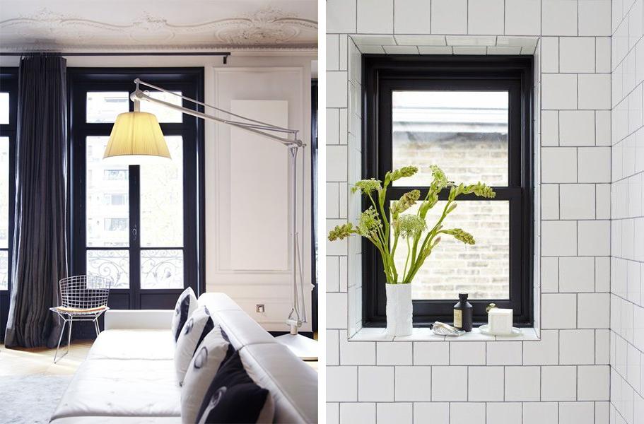 Cadres de fenêtres en noir : design monochrome