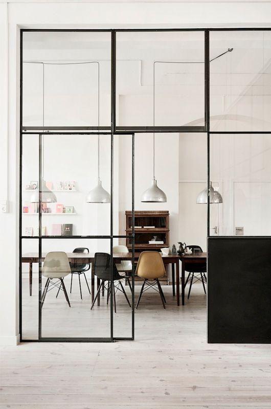 Verrrière intérieur noire métal et verre déco loft industriel