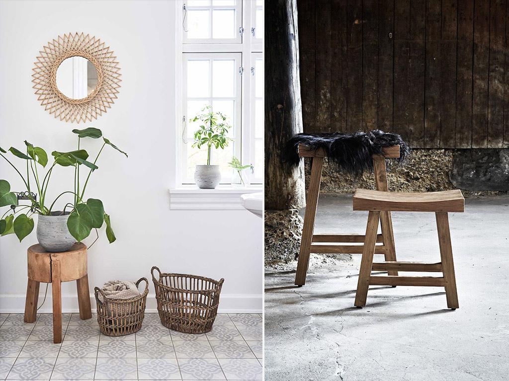 Tabouret en bois façon spa Sika Design