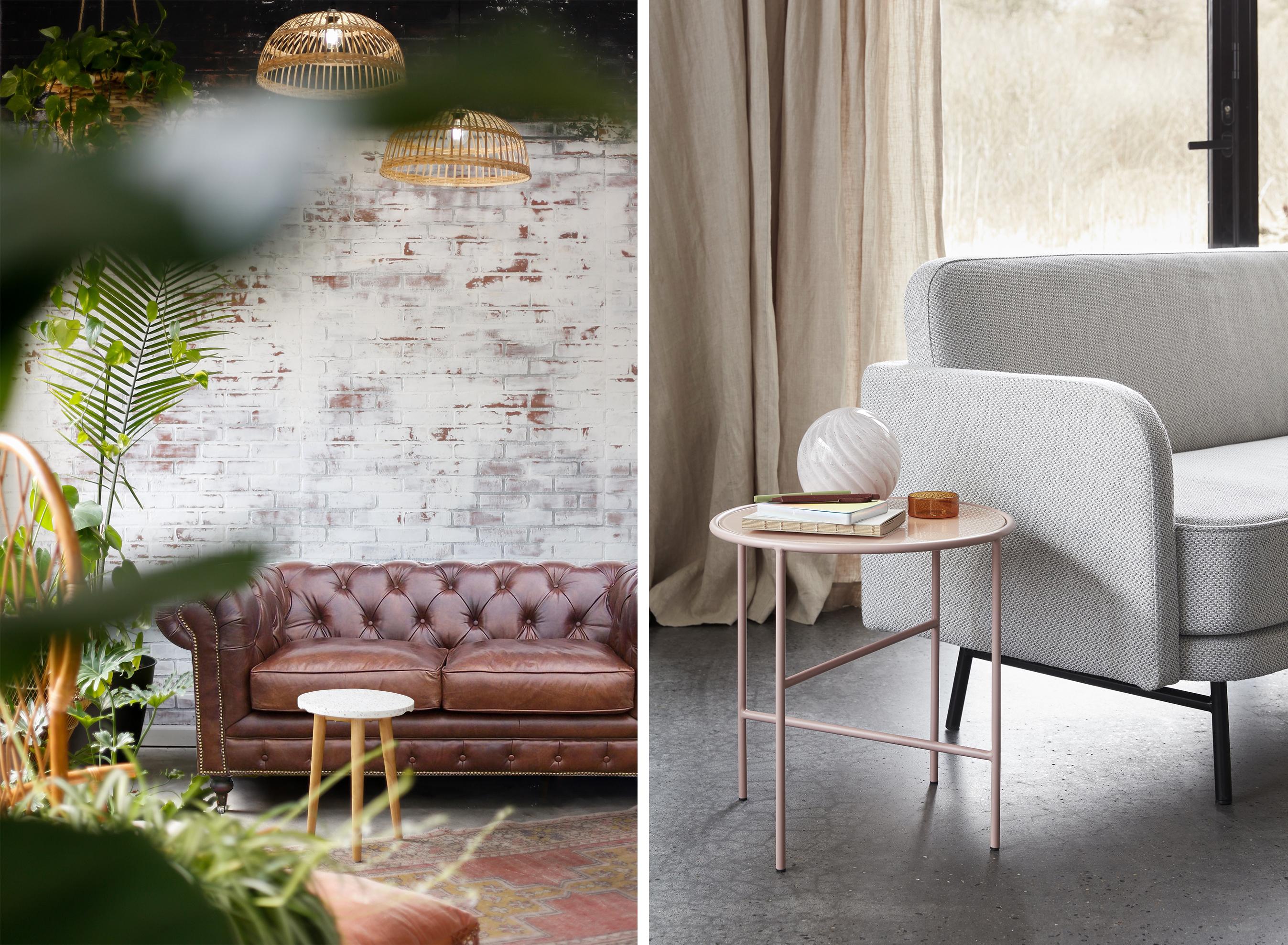 Canapé Chesterfield Borrows et canapé Nilsa par Hübsch Interior