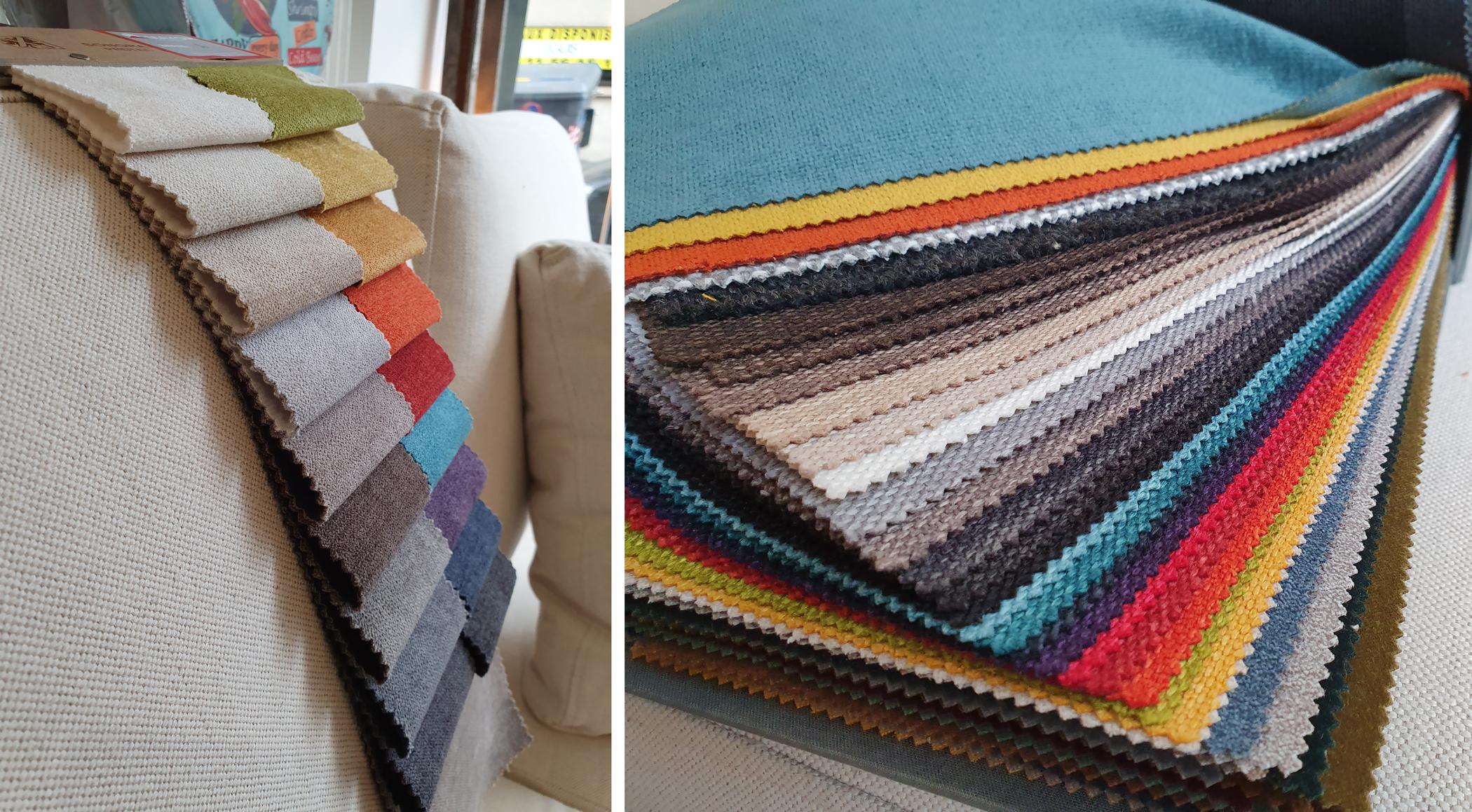 Liasse de tissus pour canapé, choisir la bonne couleur