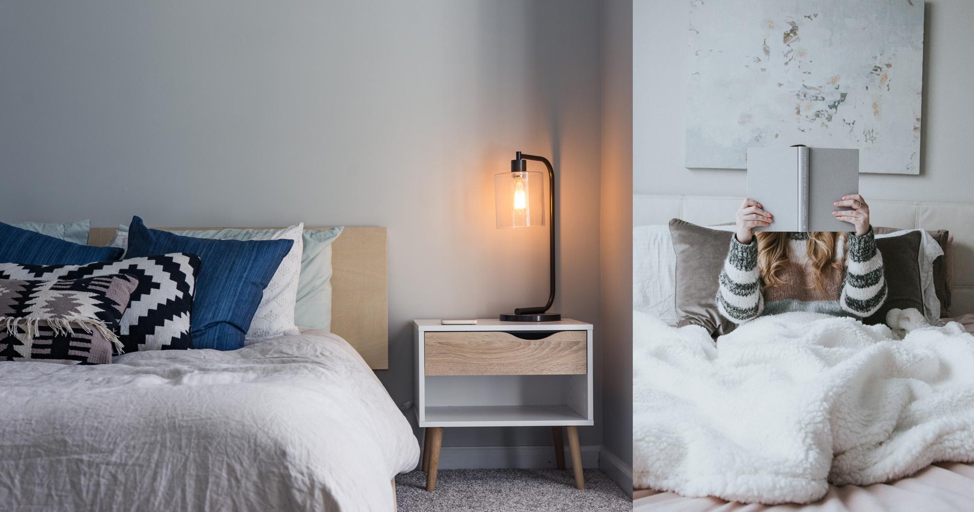 Coussins moelleux et couette cosy pour une chambre accueillante et hygge