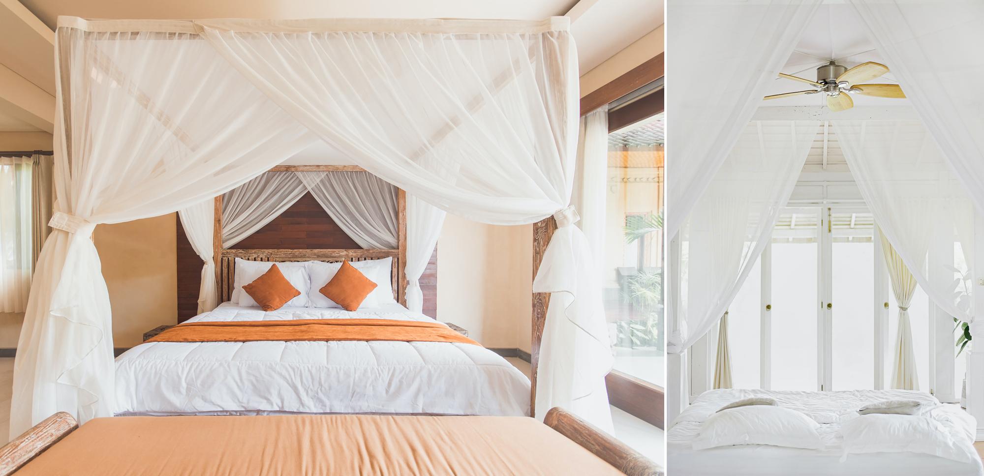 Lits à baldaquins avec rideaux ou moustiquaire