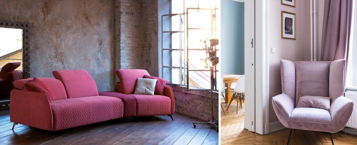 Canapé rose ou violine : canapé panoramique Brisbane et petit fauteuil violine