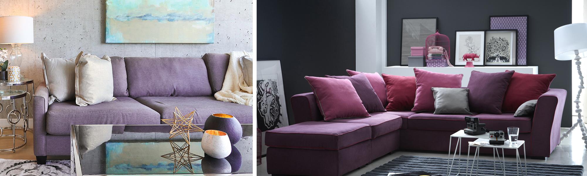 Canapé violet parme déco lilas salon couleurs