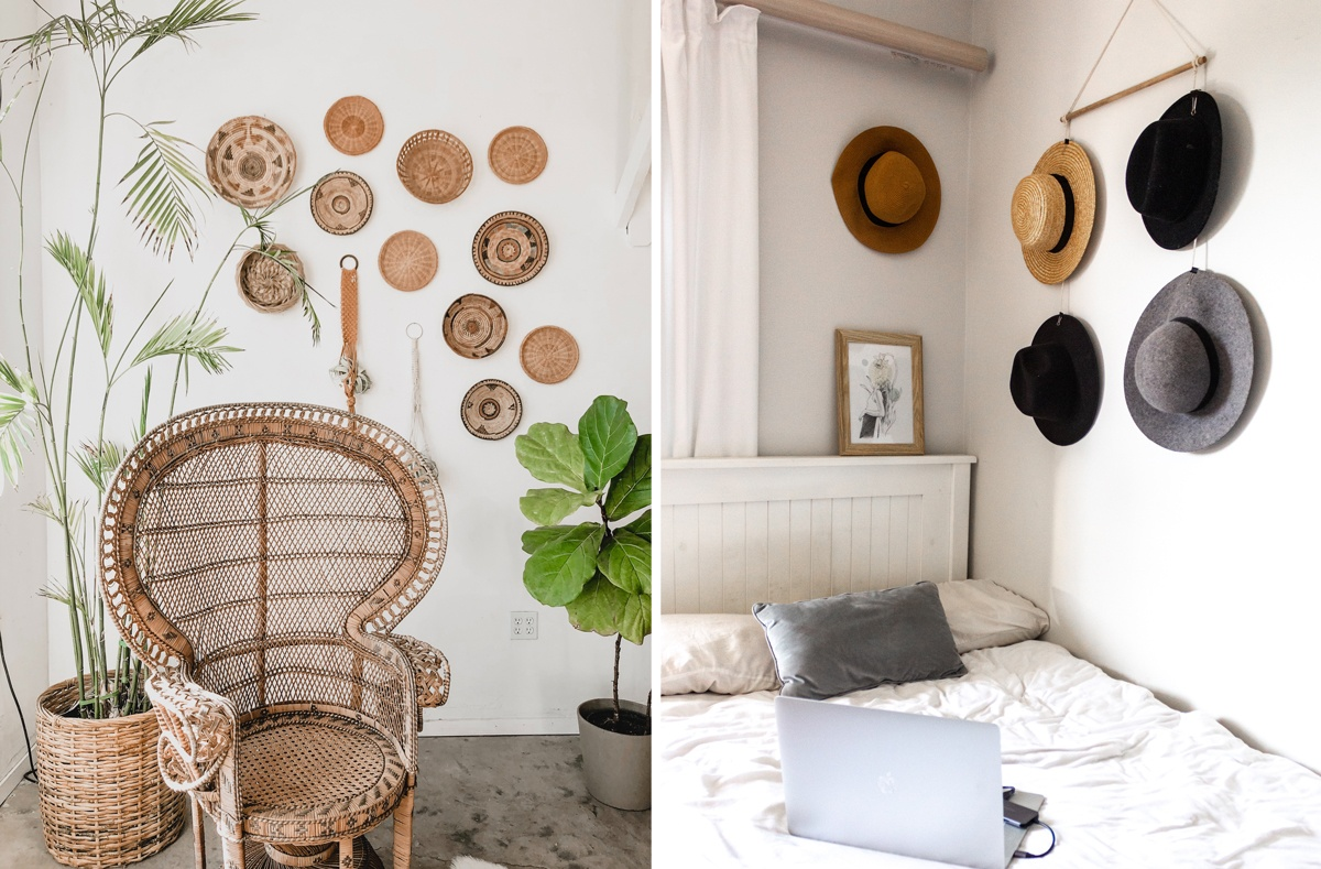 Collection de chapeaux et de vanneries accrochées au mur