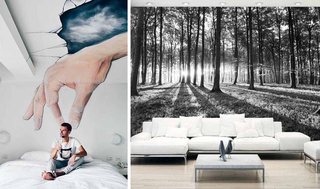 Papier peint photo paysage foret arbre et fresque street art dans la chambre