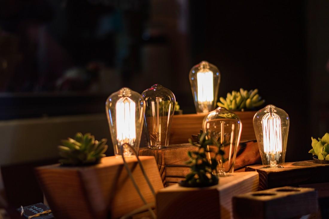 Bloc en bois avec une ampoule et une petite plante grasse