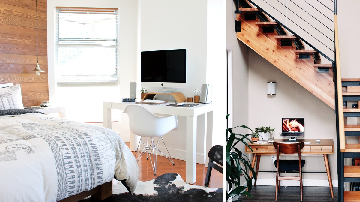 Bureau installé au calme dans la chambre ou sous les escaliers dans un lieu de passage