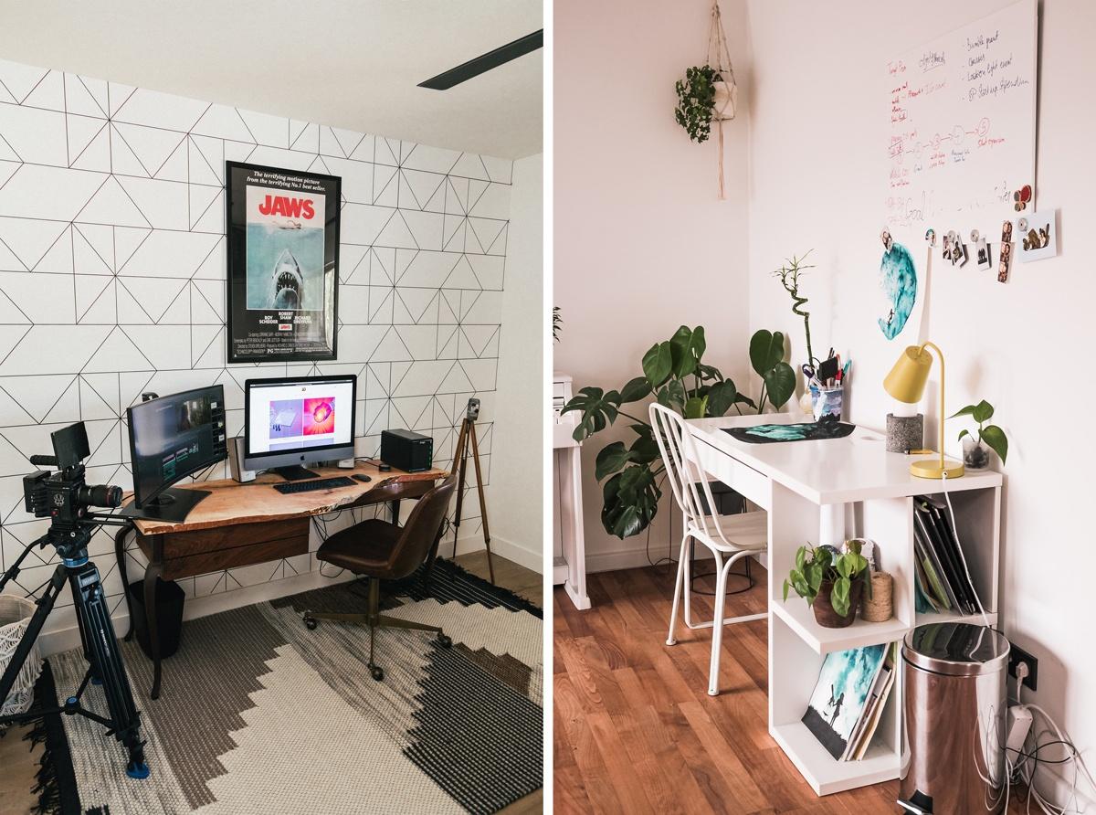 Espaces de travail avec rangement appropriés pour le matériel ou les fournitures